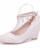 cheap -Women's Shoes PU(Polyurethane) Fall & Winter Ankle Strap Wedding Shoes Wedge Heel Pointed Toe Pearl / Sparkling Glitter / Buckle White