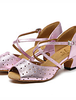 cheap -Women's Latin Shoes Leather Sandal Sided Hollow Out Thick Heel Dance Shoes Gold / Pink