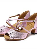 abordables -Mujer Zapatos de Baile Latino Cuero Sandalia Ahuecado a un lado Talón grueso Zapatos de baile Dorado / Rosa