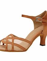 baratos -Mulheres Sapatos de Dança Latina Cetim Salto Salto Alto Magro Sapatos de Dança Amêndoa / Espetáculo / Couro / Ensaio / Prática