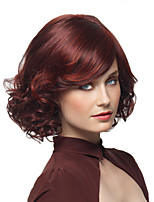 cheap -Synthetic Wig Curly Burgundy Layered Haircut Synthetic Hair Party Burgundy Wig Women's Short Capless