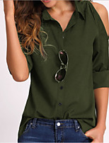 Недорогие -Жен. Рубашка Рубашечный воротник Однотонный