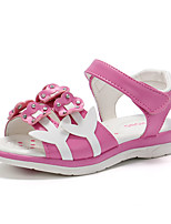 cheap -Girls' Shoes PU(Polyurethane) Spring & Summer Comfort Sandals Walking Shoes Flower / Magic Tape for Kids White / Fuchsia / Pink
