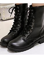 economico -Per donna Scarpe PU (Poliuretano) Autunno Comoda / Anfibi Stivaletti Heel di blocco Stivali metà polpaccio Nero