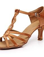 economico -Per donna Scarpe per balli latini Raso Sandali / Tacchi A fantasia Tacco a rocchetto Personalizzabile Scarpe da ballo Marrone