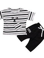 cheap -Toddler Boys' Solid Colored / Striped Short Sleeve Clothing Set