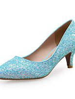 cheap -Women's Shoes Synthetics Spring & Summer Comfort Heels Kitten Heel Pointed Toe Sequin Blue / Party & Evening