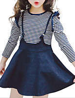 cheap -Kids Girls' Striped / Patchwork Long Sleeve Clothing Set