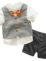 cheap -Toddler Boys' Solid Colored / Striped / Color Block Short Sleeve Clothing Set