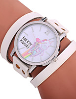 baratos -Xu™ Mulheres Bracele Relógio / Relógio de Pulso Chinês Criativo / Relógio Casual / Adorável PU Banda Desenho / Fashion Preta / Branco / Vermelho