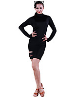 cheap -Latin Dance Dresses Women's Training Ice Silk Split Joint Long Sleeve Natural Dress