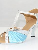 cheap -Women's Latin Shoes Satin Heel Slim High Heel Dance Shoes Blue / White / Performance / Leather / Practice