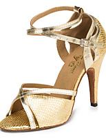 Недорогие -Жен. Обувь для латины Синтетика Кроссовки Животные принты Кубинский каблук Танцевальная обувь Золотой