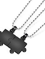 abordables -Homme Pendentif de collier - Plaqué argent, Inoxydable simple, Mode, Décalage Noir, Argent 45 cm Colliers Tendance 2pcs Pour Cadeau, Quotidien