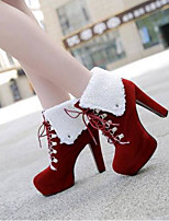 cheap -Women's Shoes Suede / Nappa Leather Spring & Summer Comfort / Slingback Heels Stiletto Heel Closed Toe Booties / Ankle Boots Purple / Red / Almond
