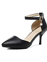 cheap -Women's Shoes PU(Polyurethane) Spring & Summer D'Orsay & Two-Piece Heels Stiletto Heel Pointed Toe Black / Almond