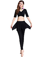 cheap -Belly Dance Outfits Women's Training Modal Split Joint / Gore Half Sleeve Dropped Top / Pants