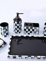 abordables -Set d'Accessoires de Salle de Bain Multifonction Moderne Résine 5pcs - Salle de  Bain Simple