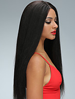 cheap -Remy Human Hair Lace Front Wig Wig Brazilian Hair Straight 130% Density With Baby Hair / Natural Hairline / African American Wig Women's Short / Long / Mid Length Human Hair Lace Wig