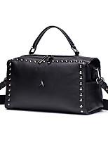 cheap -Women's Bags Cowhide Tote / Shoulder Bag Rivet / Zipper Black