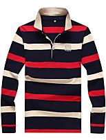 baratos -Homens Tamanhos Grandes Polo Estampa Colorida Algodão Colarinho de Camisa / Por favor, sempre escolha um número maior que o seu número normal. / Manga Longa