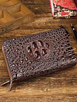 cheap -Men's Bags Cowhide Wallet Zipper Black / Coffee / Brown