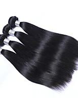 Недорогие -4 Связки Бразильские волосы Прямой Натуральные волосы Человека ткет Волосы / Удлинитель / Пучок волос 8-28 дюймовый Ткет человеческих волос Машинное плетение