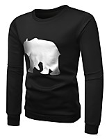 cheap -Men's Long Sleeve Slim Sweatshirt - Character Round Neck / Please choose one size larger according to your normal size.