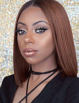 cheap -Remy Human Hair Lace Front Wig Brazilian Hair Straight Wig 130% With Baby Hair / Ombre Hair / Dark Roots Light Brown / Brown Women's Short / Long / Mid Length Human Hair Lace Wig / Natural Hairline