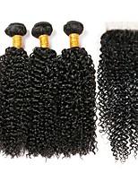 Недорогие -3 комплекта с закрытием Перуанские волосы Kinky Curly Натуральные волосы One Pack Solution / Накладки из натуральных волос / Волосы Уток с закрытием 8-22 дюймовый Ткет человеческих волос 4x4 Закрытие