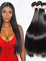 cheap -4 Bundles Indian Hair Straight Human Hair Natural Color Hair Weaves / Extension 8-28 inch Human Hair Weaves Machine Made Classic / Best Quality / New Arrival Black Natural Color Human Hair Extensions
