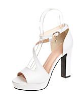 cheap -Women's Shoes PU(Polyurethane) Summer Basic Pump Heels Chunky Heel White / Black