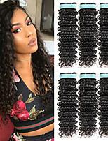 Недорогие -6 Связок Бразильские волосы Кудрявый Натуральные волосы Человека ткет Волосы / Удлинитель / Пучок волос 8-28 дюймовый Черный Естественный цвет Ткет человеческих волос Машинное плетение