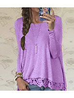 cheap -Women's Going out Basic Cotton Loose T-shirt - Solid Colored / Polka Dot Lace / Mesh