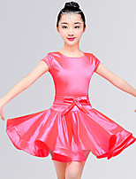 cheap -Latin Dance Dresses Girls' Training / Performance Elastane Satin Bow / Ruching Short Sleeve Natural Dress