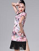 abordables -Danse latine Robes Femme Utilisation Soie Glacée Motif / Impression / Ruché / Gland Manches Courtes Robe