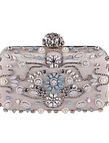 cheap -Women's Bags Polyester Evening Bag Beading / Crystals Black / Almond