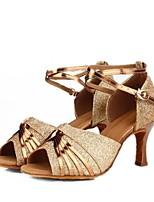 cheap -Women's Latin Shoes Faux Leather Sandal Slim High Heel Customizable Dance Shoes Gold