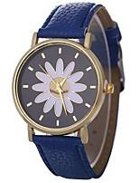 abordables -Xu™ Mujer Reloj de Pulsera Chino Creativo / Reloj Casual / Adorable PU Banda Flor / Moda Negro / Blanco / Azul