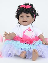 Недорогие -FeelWind Куклы реборн Девочки / Индийская девушка 22 дюймовый Полный силикон для тела - как живой, Искусственная имплантация Коричневые глаза Детские Девочки Подарок