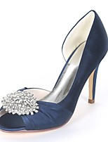 cheap -Women's Shoes Satin Spring & Summer Basic Pump Wedding Shoes Stiletto Heel Peep Toe Rhinestone Royal Blue / Champagne / Ivory / Party & Evening