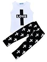 cheap -Toddler Girls' Black & White Print Short Sleeve Clothing Set