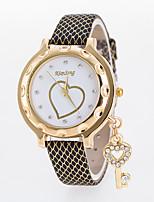 cheap -Women's Wrist Watch Chinese Casual Watch Leather Band Heart shape / Fashion Black / White / Blue