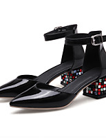cheap -Women's Shoes Cowhide Spring Comfort Heels Chunky Heel White / Black / Red