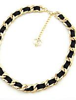 Недорогие -Жен. Толстая цепь Ожерелья-бархатки - Скрепка корейский, Мода Золотой 44 cm Ожерелье 1шт Назначение Повседневные