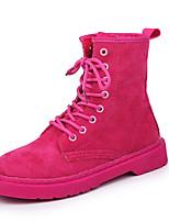 abordables -Femme Chaussures Daim Automne hiver Bottes à la Mode Bottes Marche Talon Bas Bout rond Bottine / Demi Botte Noir / Fuchsia