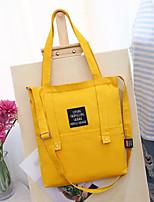 cheap -Women's Bags Canvas Shoulder Bag Zipper Dark Blue / Gray / Yellow