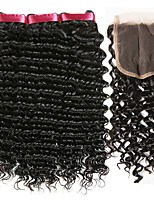 cheap -Indian Hair Curly Natural Color Hair Weaves / Human Hair Extensions / Hair Weft with Closure 3 Bundles With  Closure 8-22 inch Human Hair Weaves 4x4 Closure Best Quality / New Arrival / For Black
