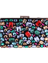 cheap -Women's Bags Polyester Evening Bag Buttons / Crystals Black