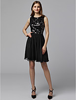 cheap -A-Line Jewel Neck Short / Mini Chiffon / Sequined Cocktail Party / Prom Dress with Sequin by TS Couture®